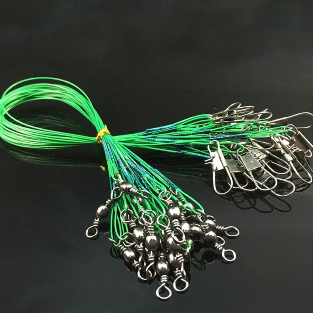 Hot Sale 72pcs Fishing Trace Lure Leader Steel Wire Spinner Three Size Green