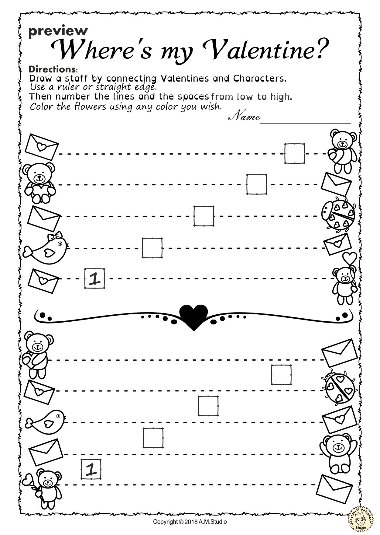 Valentine S Day Music Worksheets Lines Space High Low