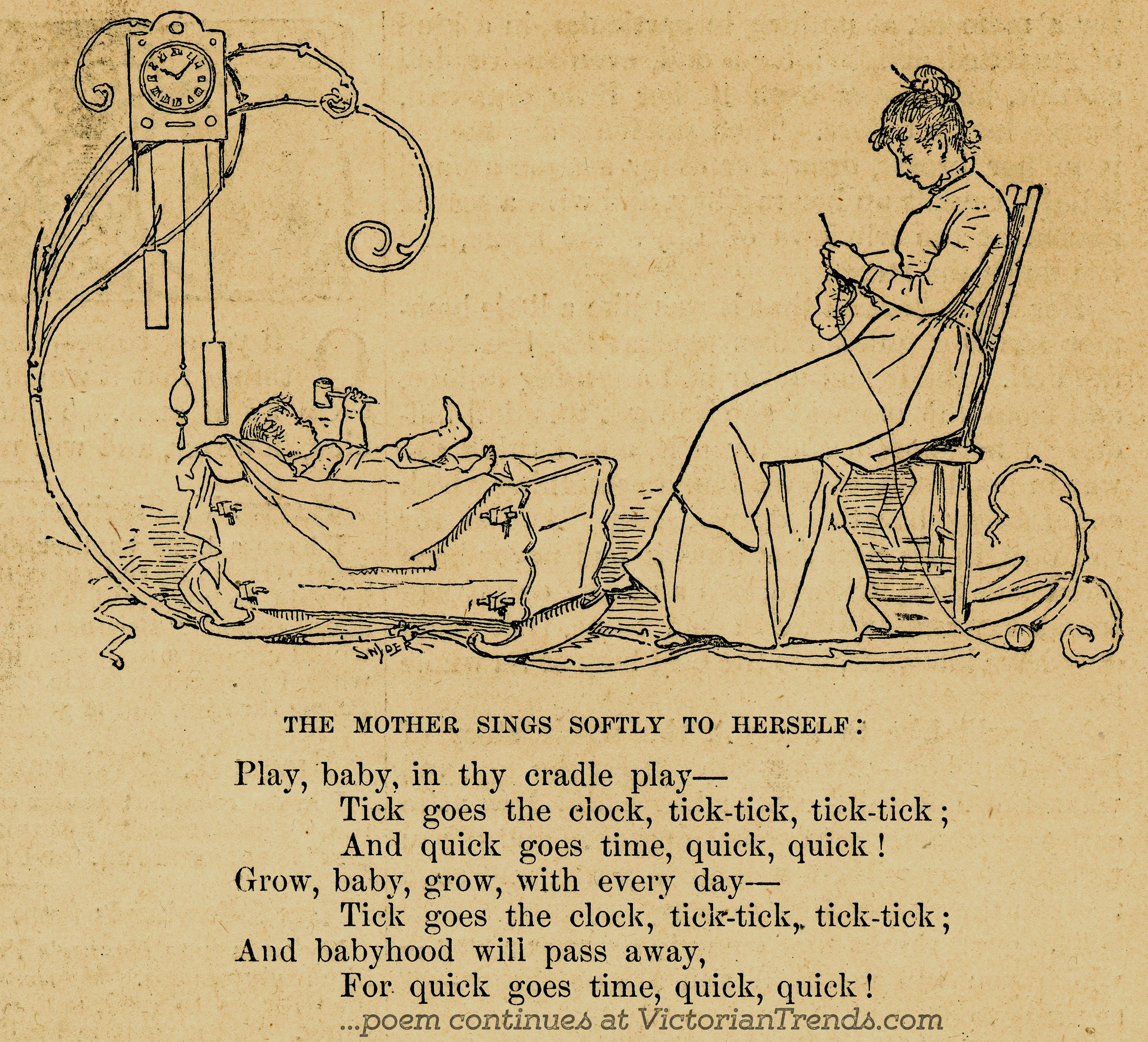 Victorian Children's Poem A Song from Mother to Infant