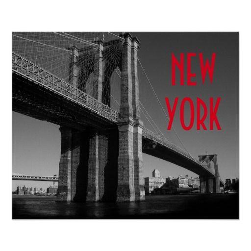 Black white red brooklyn bridge new york city poster