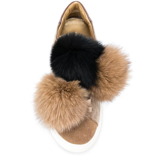 Madeleine fox fur pom-pom sneakers - Brown Philippe Model E0Y31SHJyo