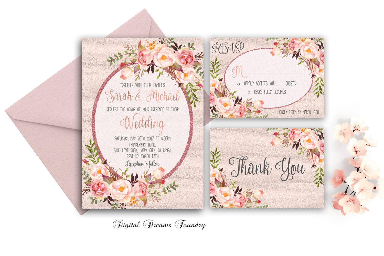 Rustic Romantic Wedding Invitations: Spring Floral Wedding Invitation Printable Rustic Wedding