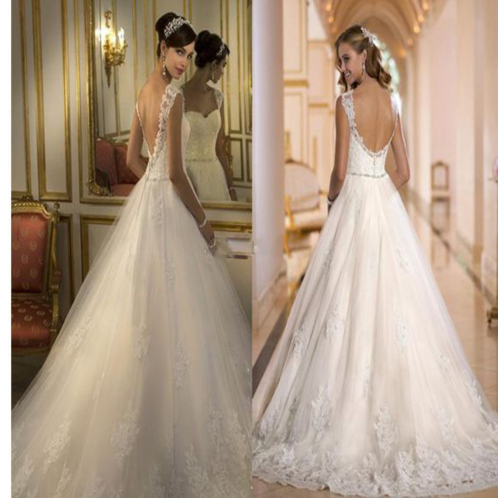 cap sleeve ball gown with lace princess backless wedding dress