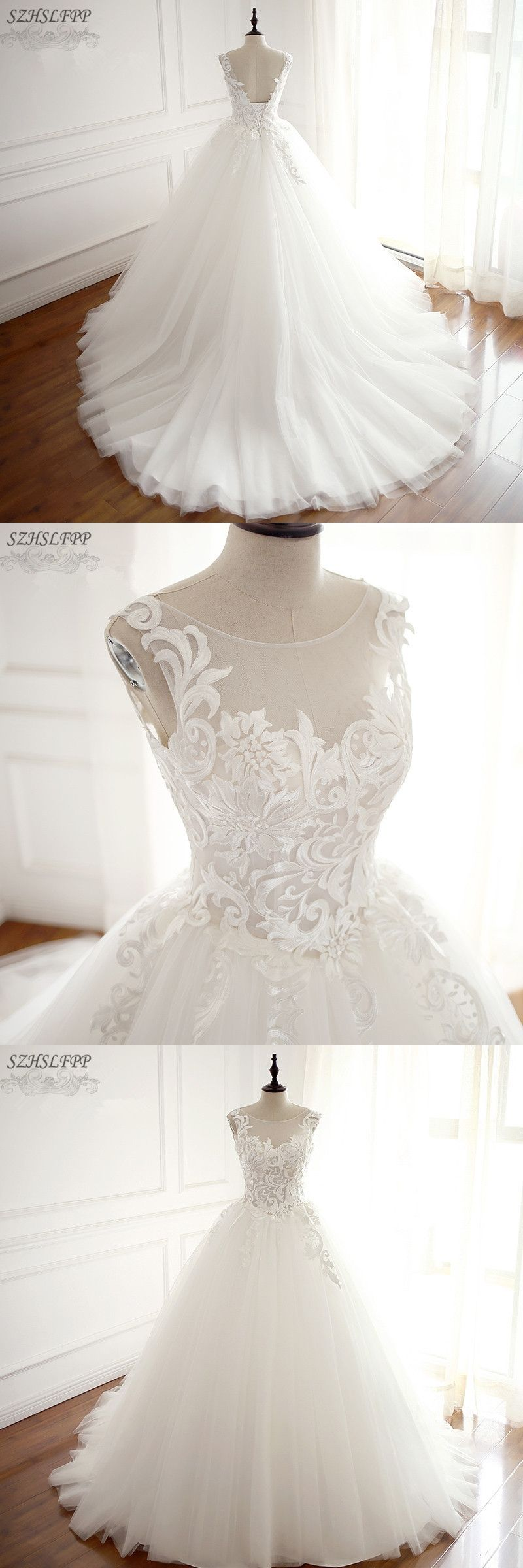 Vintage Korean Lace Up Ball Gown Wedding Dresses Sheer Neck Vintage