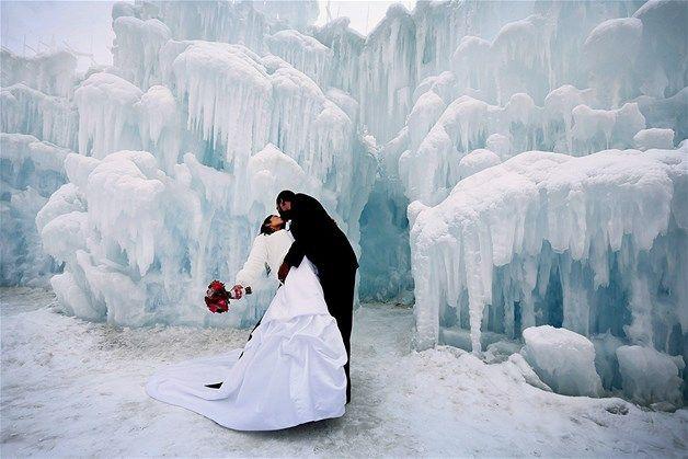Een ijs-koude trouwfoto