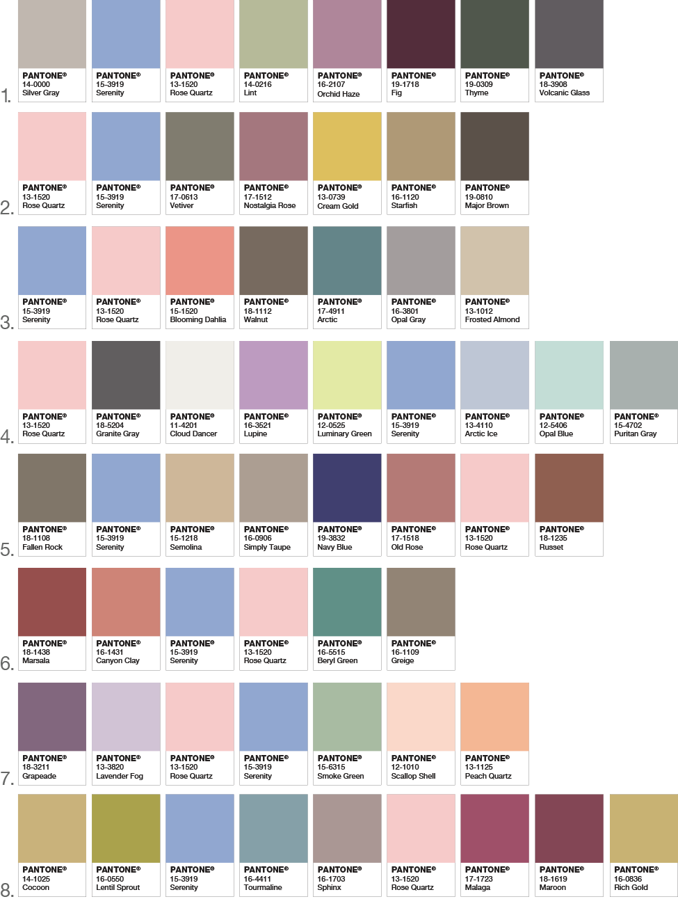 Pantone Announces Two Colors Of The Year 2016 Setting For Four Serenity Color Pantone Pantone Color