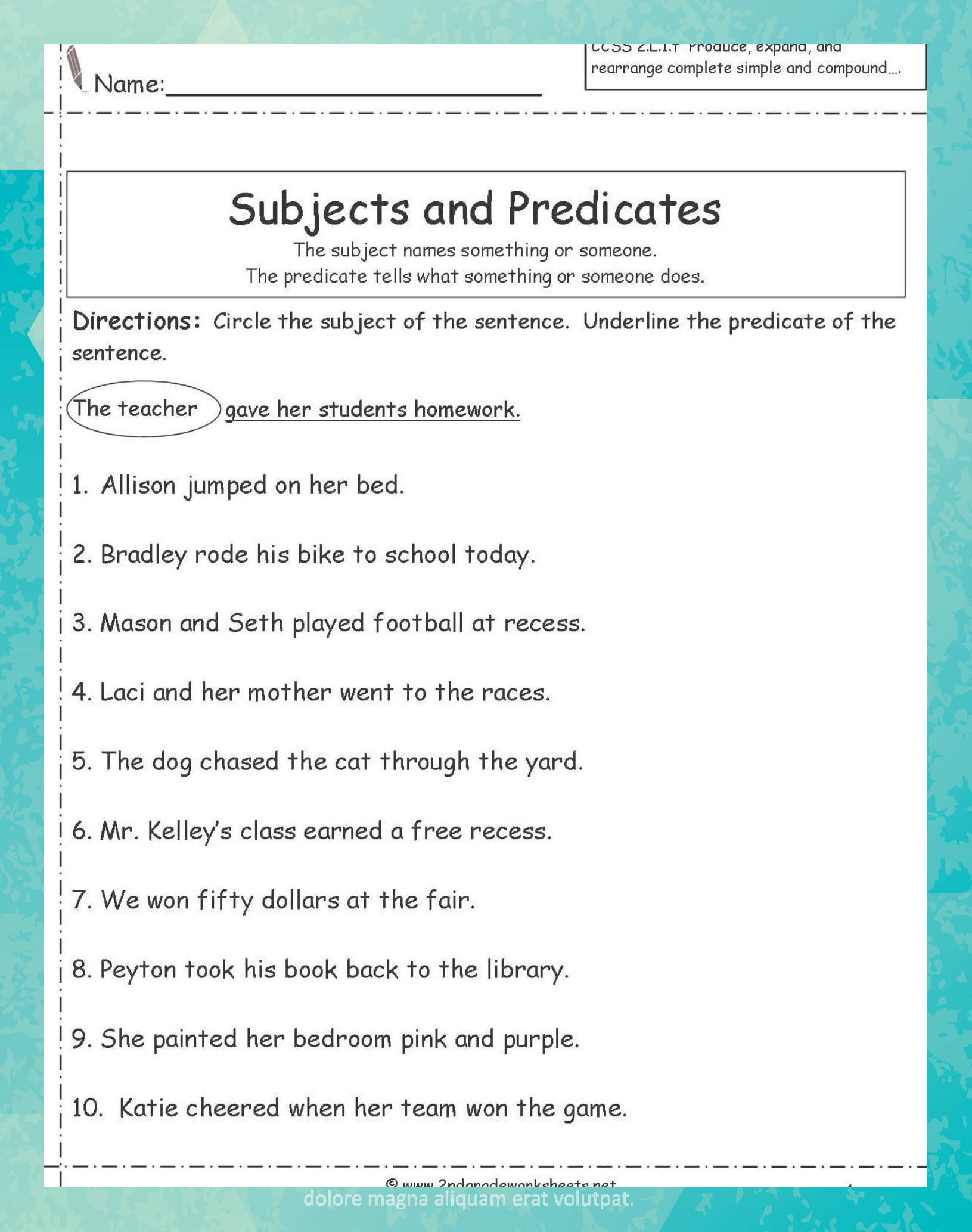 Subject And Predicate Worksheets For Second Grade