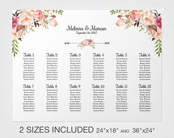 Wedding seating chart template floral also pink rh pinterest