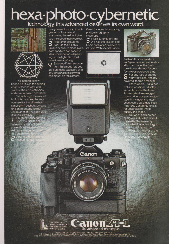 Vintage Canon A-1 Camera Magazine Advertisement   Great Cameras ...