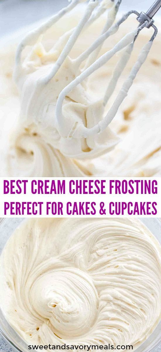 Cream Cheese Frosting makes the perfect frosting recipe that can be used on either cupcakes or layer cakes. #frosting #creamcheese #creamcheesefrosting #dessertrecipes #sweetandsavorymeals #cakes #cupcakes #frostings