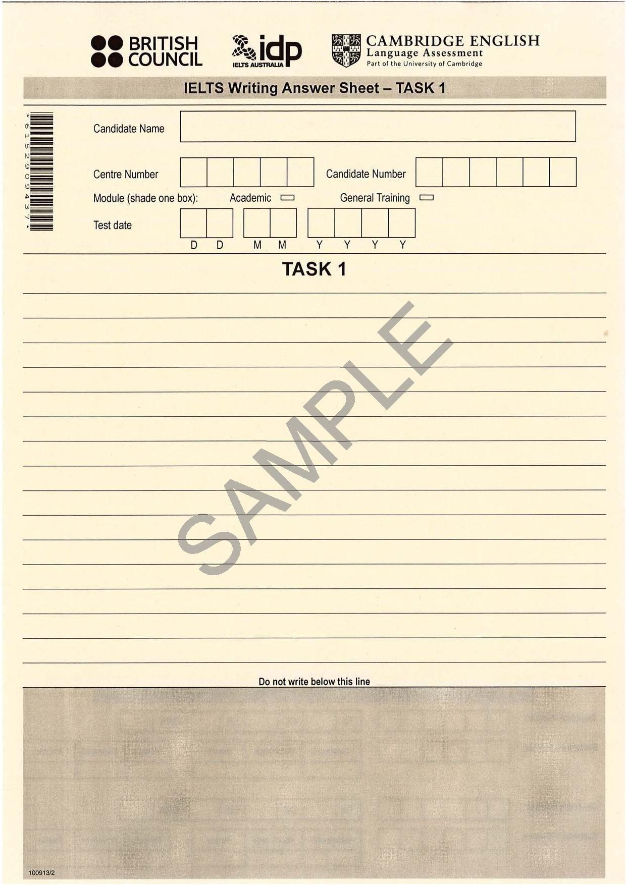 Ielts Writing Task 1 Answer Sheet Front