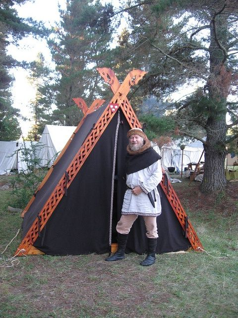 957669eaa92680 Viking A-frame tent. I love the carved out frames