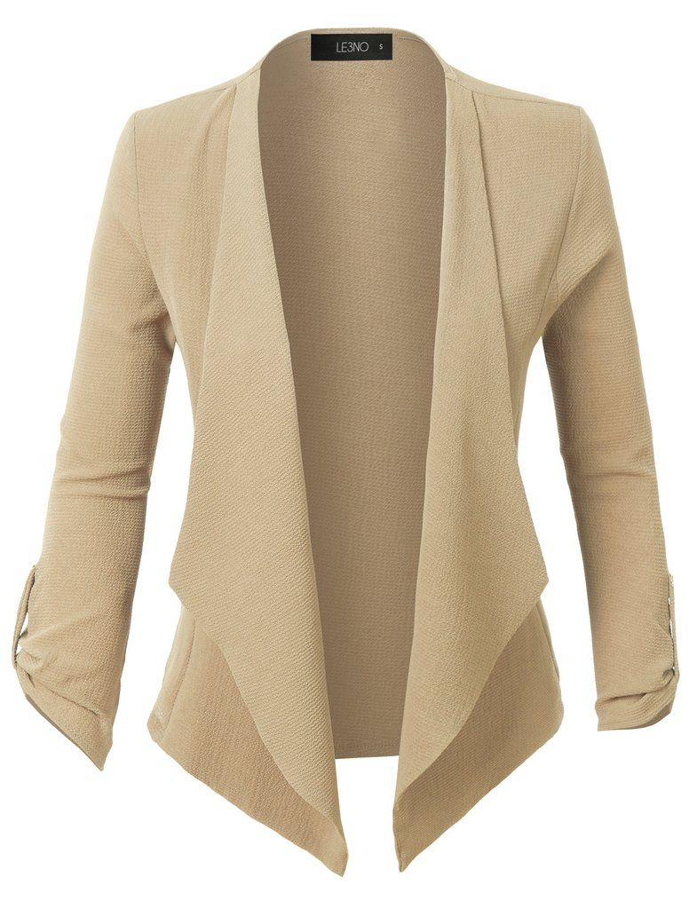 Womens Semi Sheer Textured 3/4 Sleeve Open Front Cropped Cardigan ...