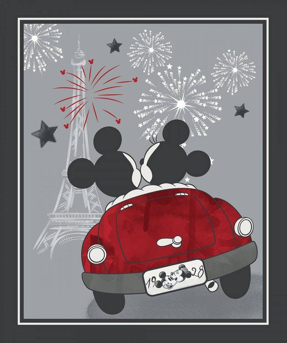 64d3c694a66 Disney Mickey and Minnie Evening out panel by Springs fabrics 17107 ...