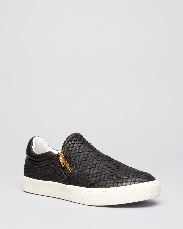 Ash Flat Sneakers - black with gold zipper details, embossed, Intense Zip Slip  On