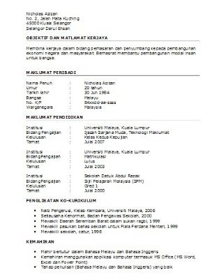 Resume Sample Resume In Bahasa Malaysia oh template resume dalam bahasa melayu terkini httpohkerjaya com