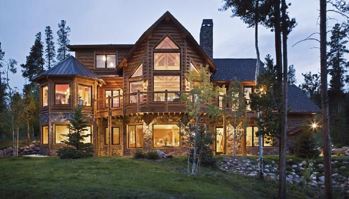Rustic homes log house plans mountain lodge builders Luxury mountain house plans