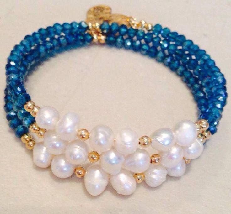 d9a94f8252c8 Pulsera con perla cultivada y cristal dona