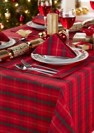 Christmas Red Black Plaid Tablecloth Christmas Party Table - Christmas tartan table decoration