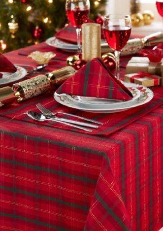 Christmas Tabletop, Christmas Party Table Settings, Red Tartan Table Runner