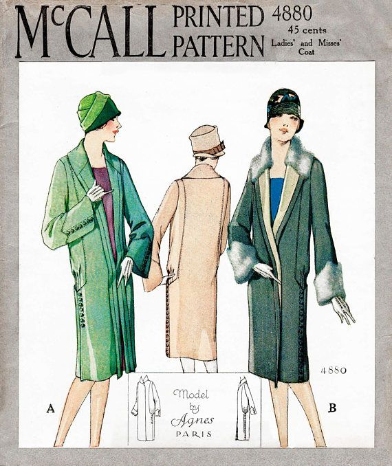 1920s 20s winter coat // vintage sewing pattern reproduction // fur ...