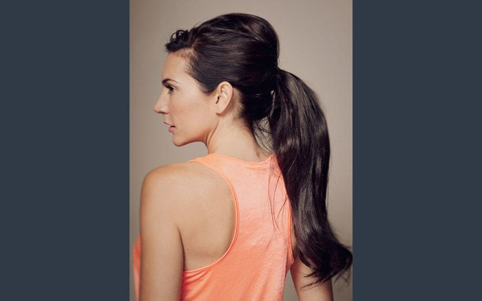 Our custom made clip in ponytails - you can not tell that it is not models own hair!