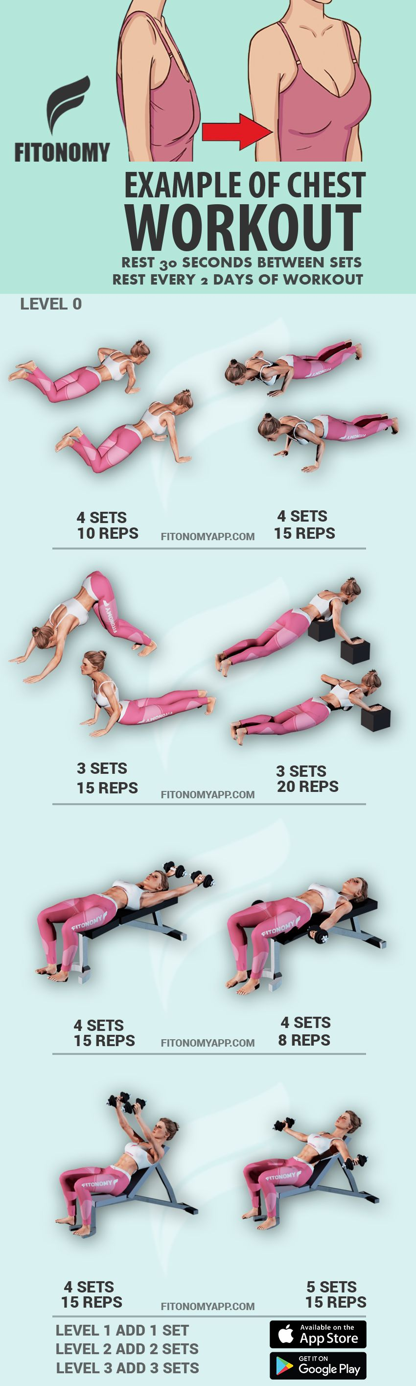 Chest workout with Fitonomy App! Available on App and Play