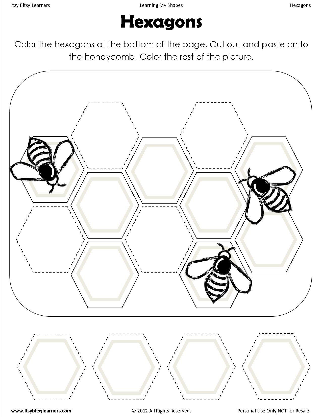 Free Worksheet Hexagon Worksheet shape cut and paste sheets for the wee ones pinterest shape