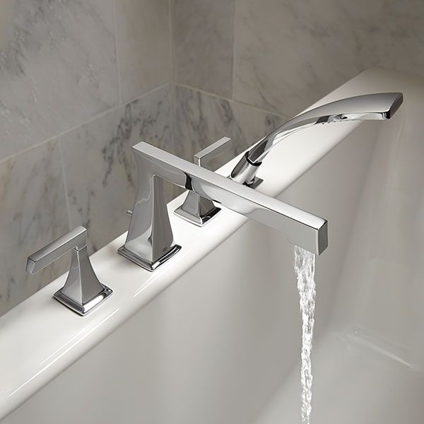 DXV Keefe Deck Mount Bathtub Faucet With Hand Shower Room Scene  Polished  Chrome