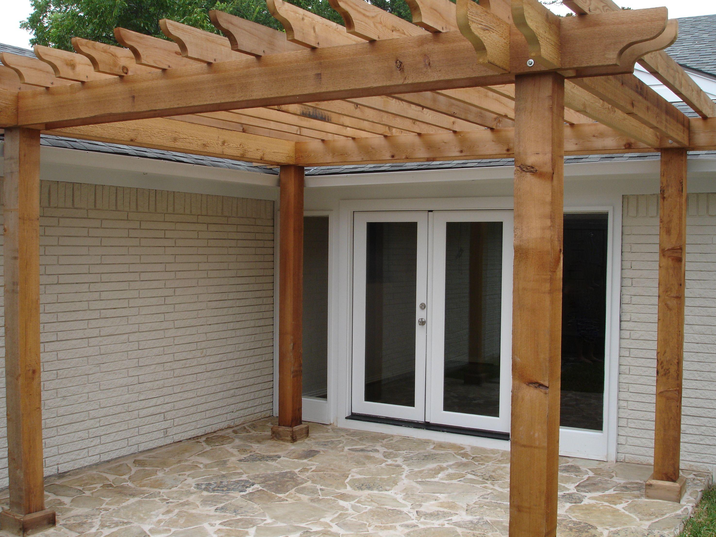 add a flagstone patio pergola onto our downstairs patio instead of a full covered - Patio Pergola Ideas