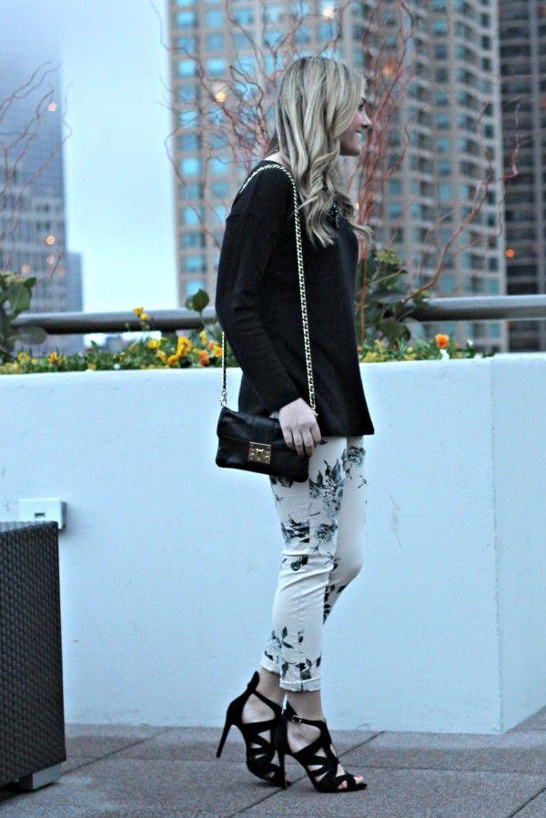 J Brand Floral Jeans + ZARA Strappy Sandals
