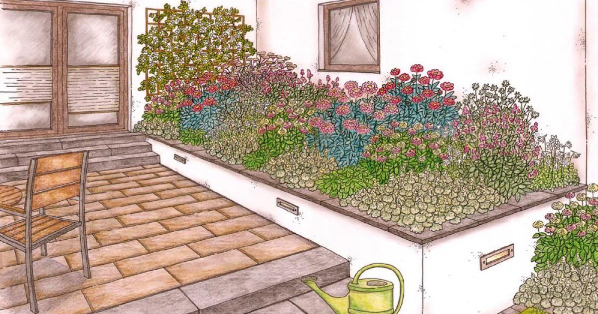 Ein großes Beet an der Hauswand bildet den Übergang von der Terrasse zum Garten. Mit der Pflanzidee von MEIN SCHÖNER GARTEN wird daraus ein harmonisch gestaltetes Blumenbeet in zarten Farben.