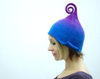 Photo of Feltrata gnomo elfo fata cappello verde viola o di qualsiasi altro colore MADE TO ORDER