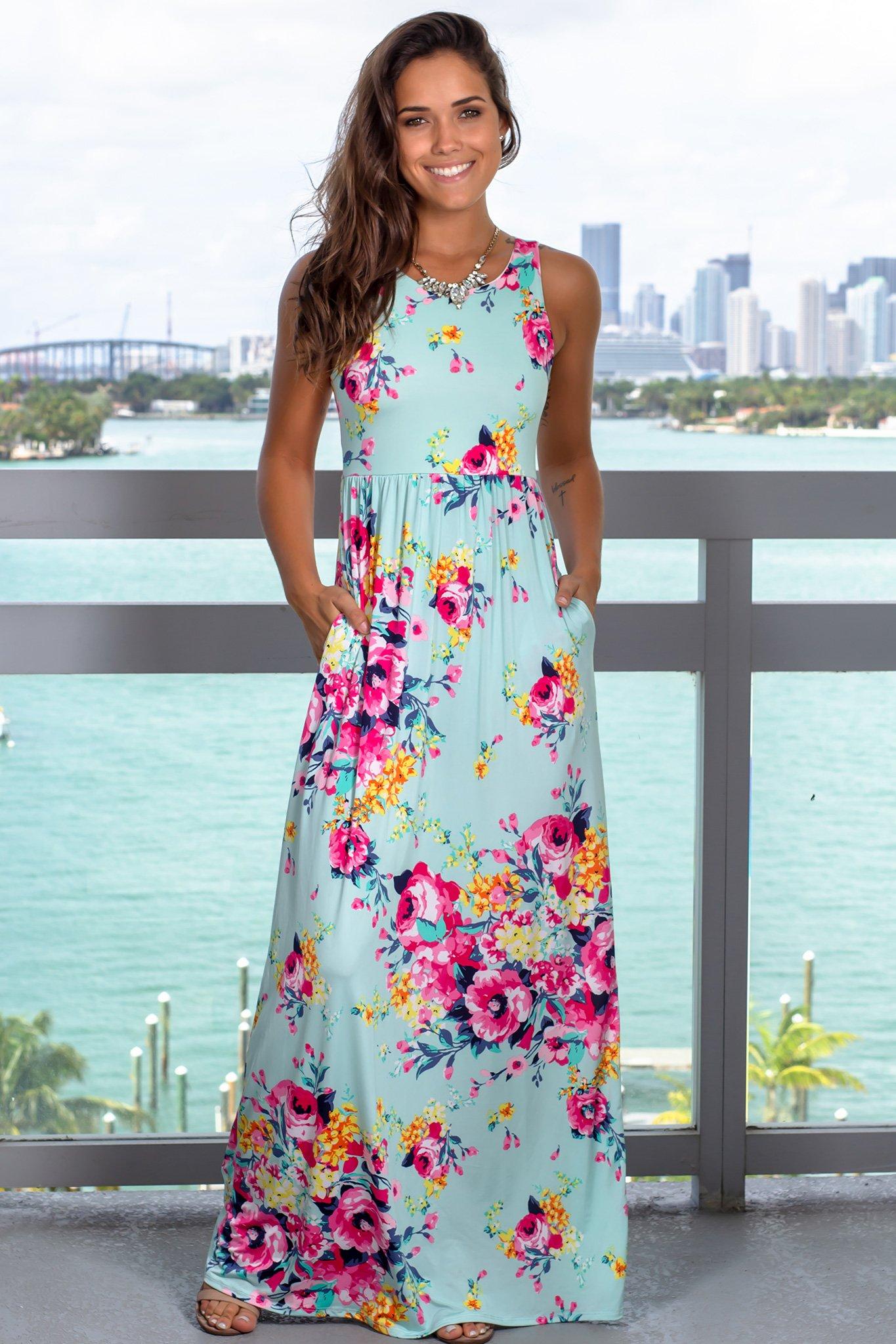 Mint Floral Racerback Maxi Dress With Pockets Maxi Dress Beautiful Maxi Dresses Dress For Short Women [ 2047 x 1365 Pixel ]