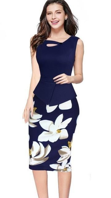 MisShow 5XL Floral Bodycon Work Dress 2018 Spring Summer Women Pencil Dress  Christmas Dress Plus Size Formal Dress 8ea9f0dd7143