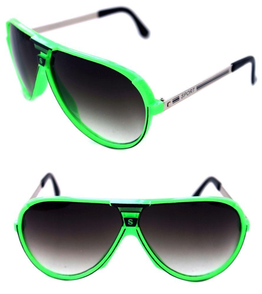 44145e7c0f11 Men's Retro 80's Vintage Sunglasses Large Aviator Champion Sport Neon Pink  Retro #Kiss #Aviator