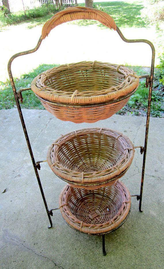 Basket Stand 3 Tier Wicker Wire Kitchen Fruit Baskets Country Farmhou