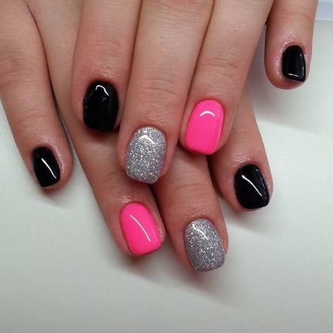 Pink Black And Silver Nails Classy Nails Pink Nails Dipped Nails