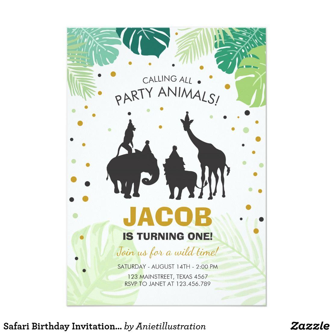 Safari Birthday Invitation Zoo Wild Jungle animals  Zazzle.com