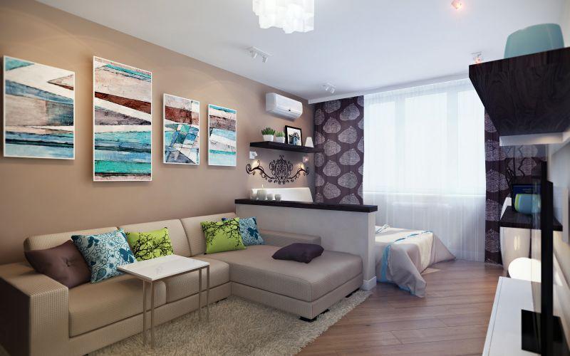 Дизайн однокомнатной квартиры — 95 фото уютного и ...