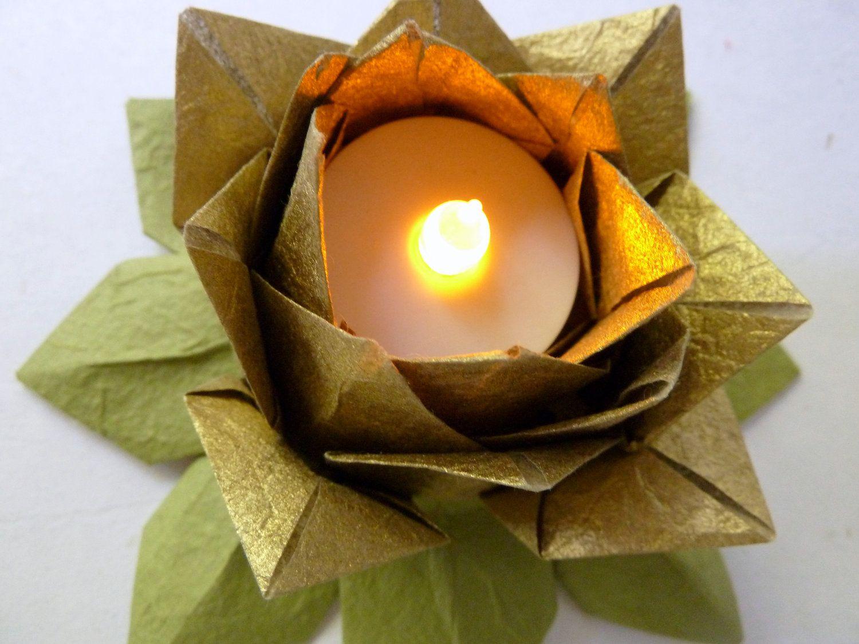 1 Origami Lotus Flower Tea Light Holder- golden, gilded ... - photo#19