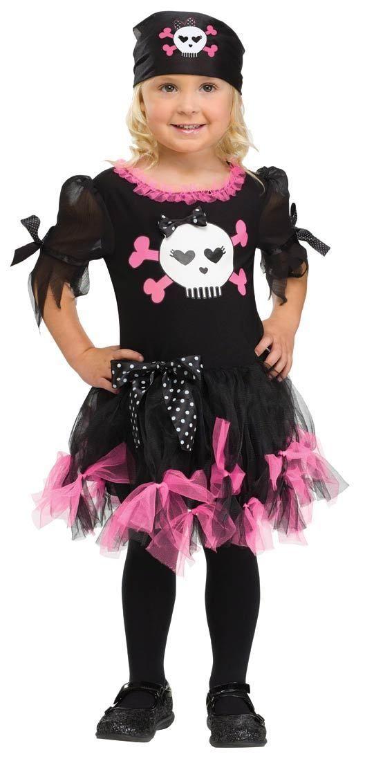 88d777885b97 Girls Pink Punk Pirate Costume Frilly Fancy Dress Halloween Toddler ...