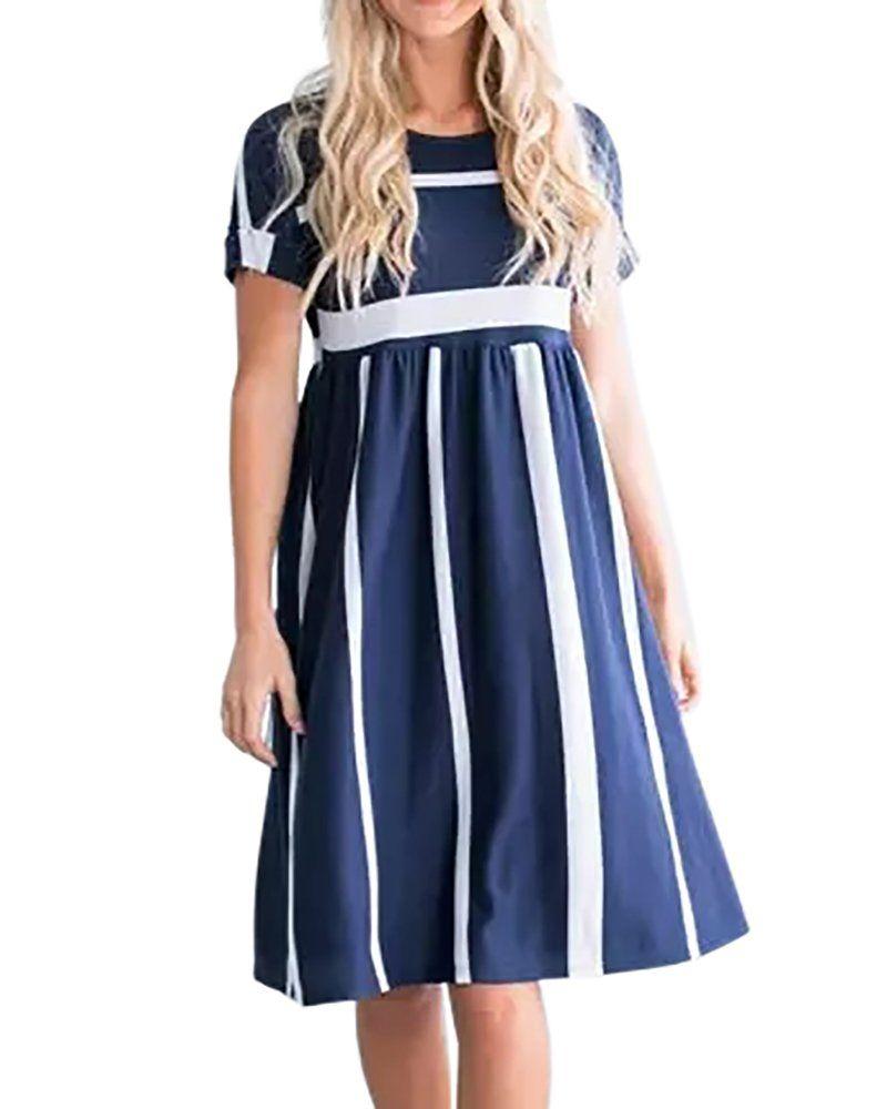 Foshow Womens Short Sleeve Dresses Striped Midi Empire Waist Summer Beach Dress With Pockets Navy Xlarge Short Sleeve Dresses Striped Dress Knee Length Dress [ 1000 x 800 Pixel ]
