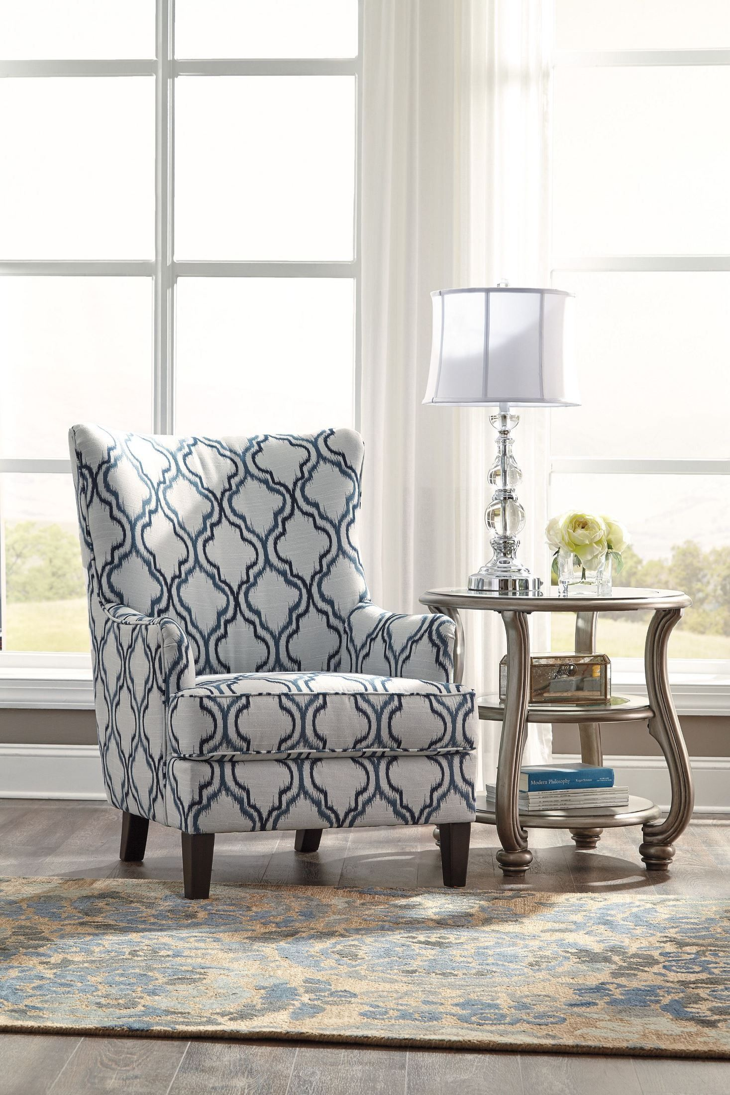 Lavernia Indigo Accent Chair With Images Accent Chairs For