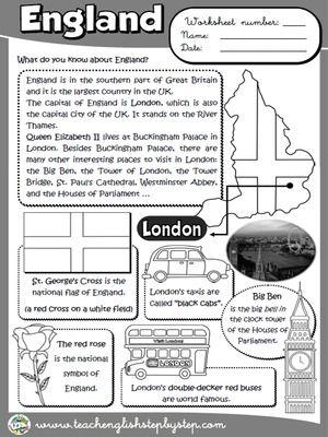 England Worksheet B W Version Con Immagini Imparare