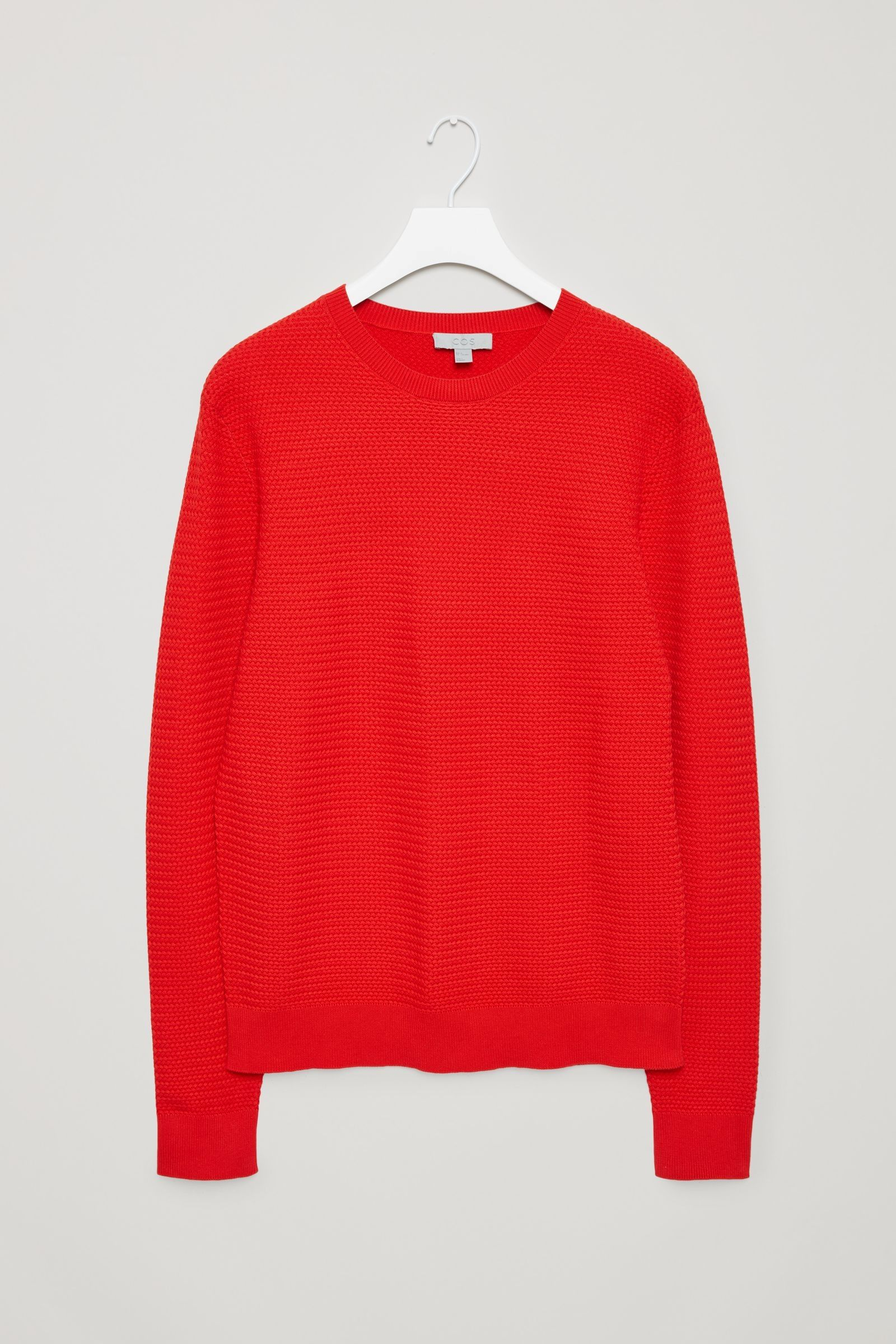 COS image 5 of Structured knit jumper in Signal Red
