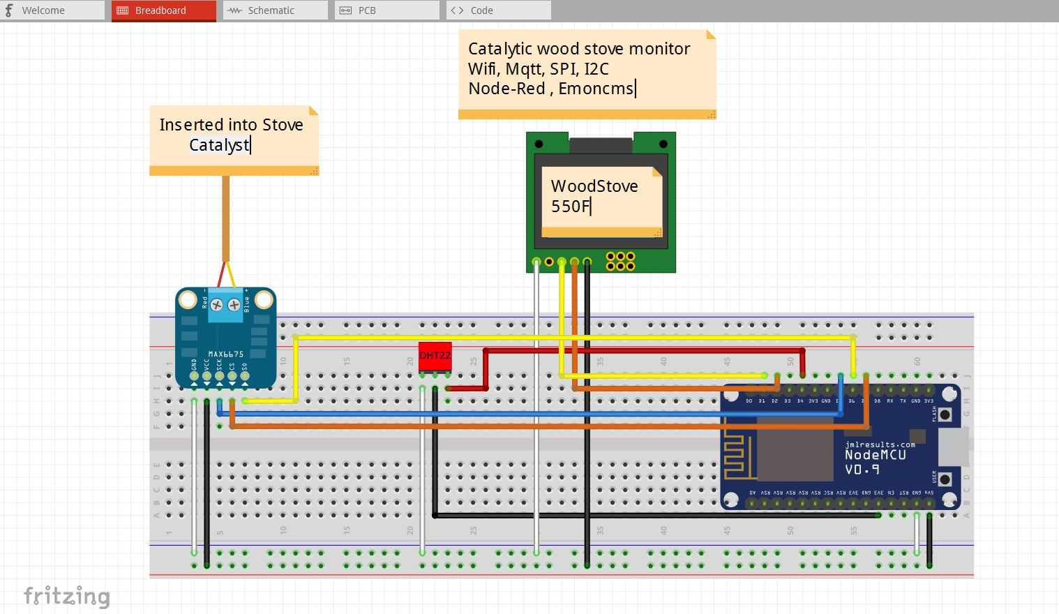 esp8266-catalytic-wood-stove-monitor Nodemcu v0 9 MQTT