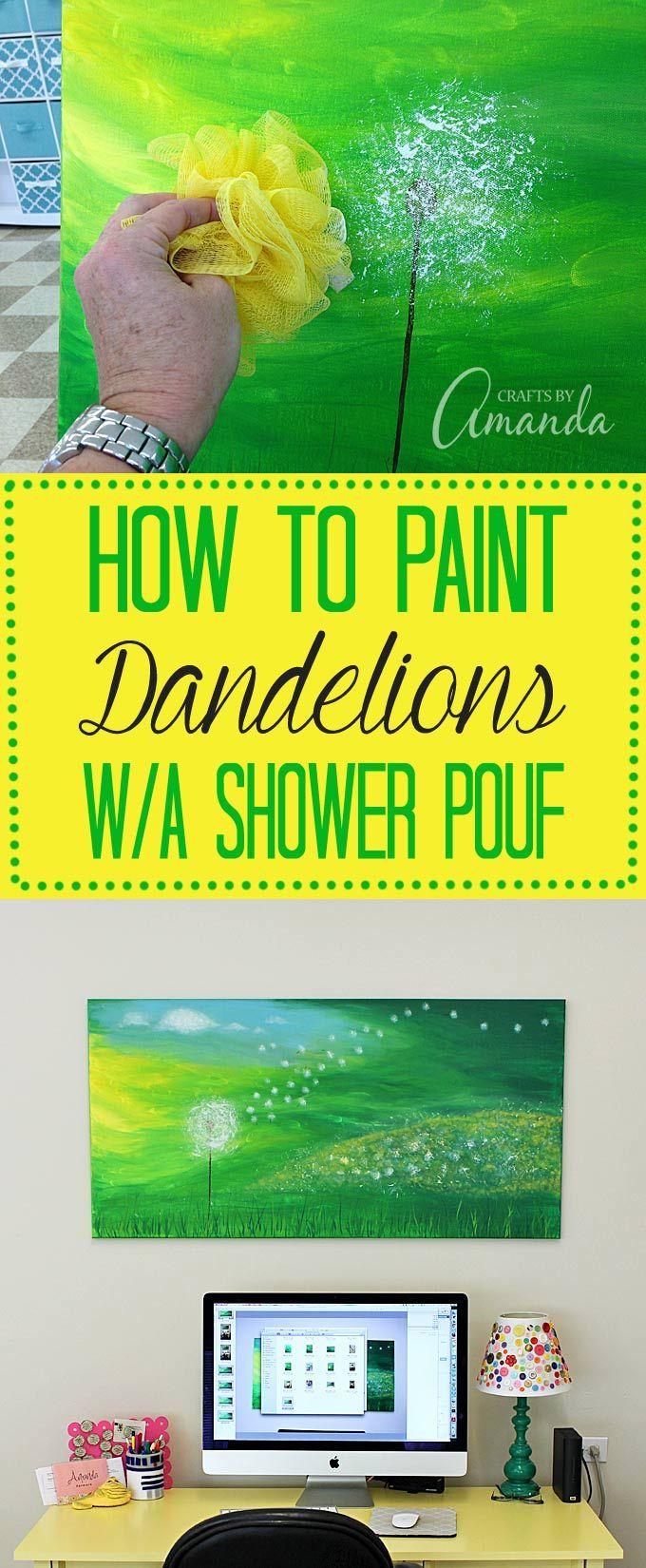 Dandelion Painting on Canvas by Amanda Formaro, Crafts by Amanda