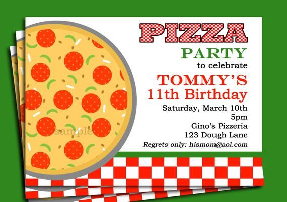 Pizza Party Invitation Printable Or Printed With FREE SHIPPING In