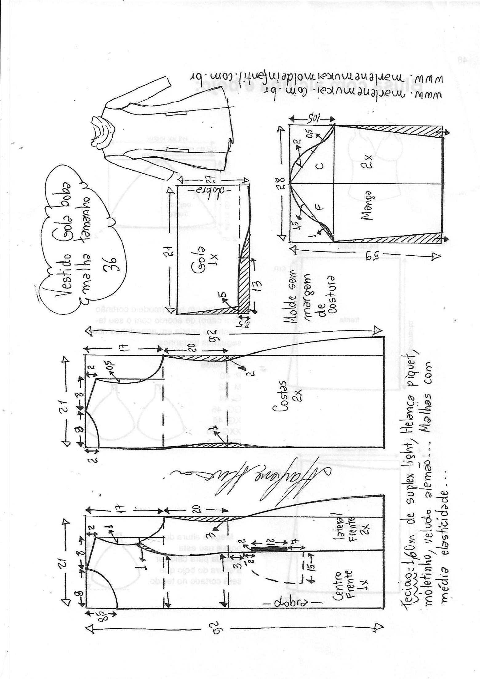 Vestido gola boba para malha   DIY - molde, corte y costura ...